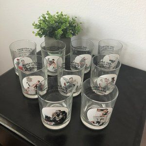 Norman Rockwell Vintage Tumbler Rock Cups Set 9